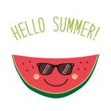 Cute card Hello summer as funny hand drawn cartoon character of watermelon Royalty Free Stock Photos