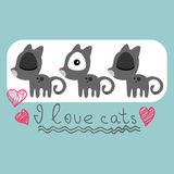 Cute card with kittens Stock Photos