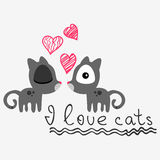 Cute card with kittens Royalty Free Stock Image