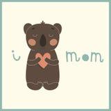 Cute card with little cartoon koala. Royalty Free Stock Photos