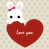 Cute card love you with red heart frame and cute Bunny. template Stock Photography