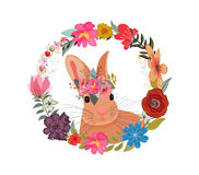 Cute card with lovely Rabbit with  flowers. Rabbit in a wreath of flowers. Stock Images