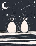 Cute card with penguins. Cute card with a couple of penguins. Vector illustration Royalty Free Stock Photography