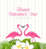 Cute Card with Pink Flamingos and Green Leaves for Valentines Day Stock Photo