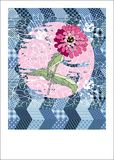 Cute card with pink flower on patchwork background Royalty Free Stock Image