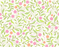 Cute card with  roses. Seamless green abstract  floral   background Royalty Free Stock Photography