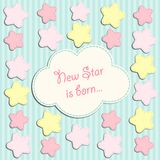 Cute card with stars as applique garland. For your decoration Royalty Free Stock Image