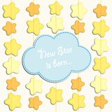 Cute card with stars as applique garland. For your decoration Stock Photos