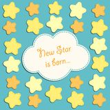 Cute card with stars as applique garland. For your decoration Stock Photo