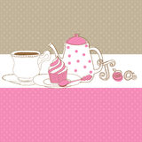 Cute  card with tea cap, pot and sweet cupca Stock Photo