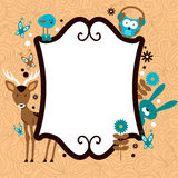 Cute card template with adorable wild animals Royalty Free Stock Photos