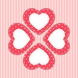 Cute card template with heart as retro fabric applique in shabby chic style Stock Photos