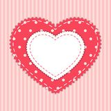 Cute card template with heart as retro fabric applique in shabby chic style Royalty Free Stock Photo