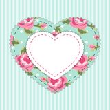 Cute card template with heart as retro fabric applique in shabby chic style Royalty Free Stock Photography