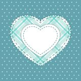 Cute card template with heart as retro fabric applique in shabby chic style Royalty Free Stock Image