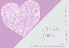 Cute card template in pink colors. Stylish romantic card template with heart of doodle Royalty Free Stock Photography