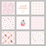 Cute card templates and seamless patterns set for girls. For birthday, wedding, baby shower design. Cute card templates and seamless patterns set for girls. For Royalty Free Stock Photos
