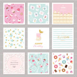 Cute card templates set for girls. Including frames, seamless patterns with sweets. Royalty Free Stock Photos
