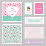 Cute card templates set in pastel colors. For save the date, baby shower, birthday, Valentine`s, bakery. Cute card templates set in pastel colors. For tea party Stock Image
