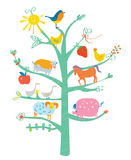 Cute card with tree and animals for kids Royalty Free Stock Photography