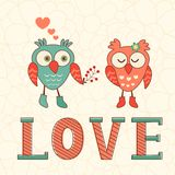 Cute card with two owls in love Royalty Free Stock Photography