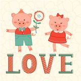 Cute card with two pigs in love. Cute Valentines day card with two pigs in love. Vector illustration Stock Photography