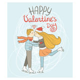 Cute card Valentine's Day. The boy and the girl are skating on ice rink Stock Photography