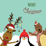 Cute card on valentines day. Cute christmas card with reindeer, bear and penguin Royalty Free Stock Photo