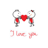 Cute card on valentines day Royalty Free Stock Photography