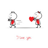 Cute card on valentines day Royalty Free Stock Images