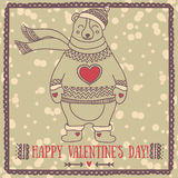 Cute card for valentine`s day with smiling bear Royalty Free Stock Image