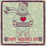 Cute card for valentine`s day with smiling bear Stock Image