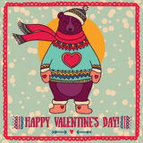 Cute card for valentine's day with smiling bear Stock Photography