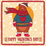 Cute card for valentine's day with smiling bear Royalty Free Stock Photography