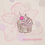 Cute card with vanilla cupcake Royalty Free Stock Photo