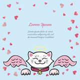 Cute card with white Cat, pink angel wings. Template for St. Valentine`s Day/invitation/party/Mother day/birthday/baby birth/greetings card. Japanese Maneki Royalty Free Stock Photos