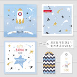 Cute cards and badges with gold confetti glitter for kids. For space birthday party invitation. Stock Image