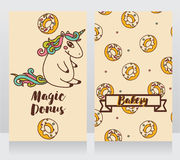 Cute cards for bakery with cartoon donuts and unicorn Royalty Free Stock Photography