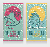 Cute cards for christmas with bells and christmas tree Stock Photos