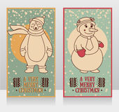 Cute cards for christmas with smiling bear and snowman Royalty Free Stock Image