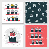 Cute cards Delicious food dessert Cupcake Birthday cake Seamless background Royalty Free Stock Photography