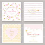 Cute cards design with glitter for girls. Birthday party invitation. Included polka dot, chocolate and striped seamless patterns. Stock Photography