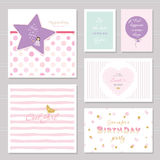 Cute cards design with glitter for teenage girls. Inspirational quotes, birthday, sweet 16 party invitation. Included. Polka dot and striped seamless patterns royalty free illustration
