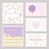 Cute cards design with glitter for teenage girls. Inspirational quotes, birthday, sweet 16 party invitation. Included. Polka dot, chocolate and striped seamless Stock Images