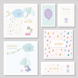 Cute cards for girls. Can be used for baby shower, birthday, babies clothes, notebook cover design. Watercolor style Stock Photo