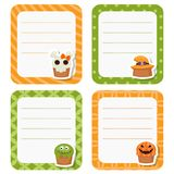 Cute cards or stickers with Halloween cupcakes. Stock Photo