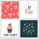 Cute cards with love lettering seamless background pattern Valentines Day Royalty Free Stock Images
