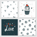 Cute cards with love lettering seamless background pattern Valentines Day Royalty Free Stock Photography