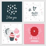 Cute cards with love lettering seamless background pattern Stock Image