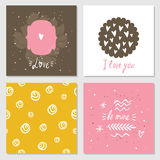 Cute cards with love lettering seamless background pattern Valentines Day Royalty Free Stock Photo